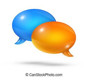 Blue and orange speech bubbles
