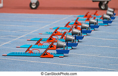 Starting Blocks in Track and Field - Blue and Orange...