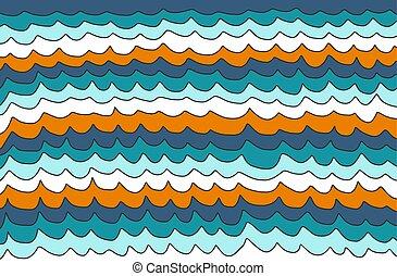Blue and orange waves background
