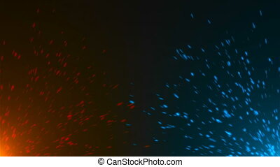 Blue and oranges glittering sparkles in the space,...
