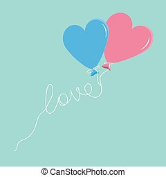 Blue and pink balloons in shape of heart with love thread Flat design