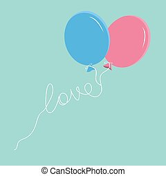 Blue and pink balloons with love thread Flat design