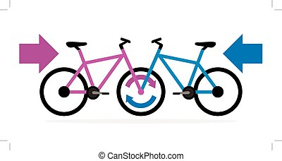 blue and pink bicycle facing each other