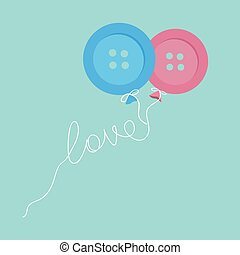 Blue and pink button balloons. Love thread card. Flat design.