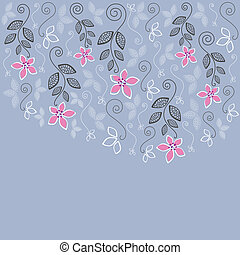 Blue and pink floral greeting card