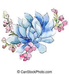 Blue and pink flowers. Isolated flower illustration element. Background set. Watercolour drawing aquarelle bouquet.