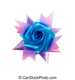 blue and pink gift bow isolated on white background
