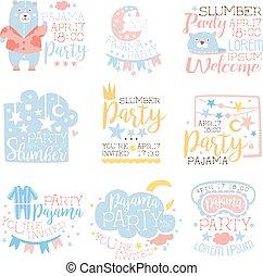 Blue And Pink Girly Pajama Party Invitation Templates Set Inviting Kids For The Slumber Pyjama Overnight Sleepover Cards