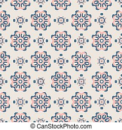 Blue and pink Indian block print abstract floral seamless vector pattern background with stylised flowers for fabric, wallpaper, scrapbooking projects.