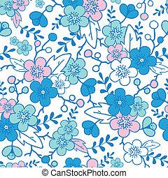 Blue and pink kimono blossoms seamless pattern background -...