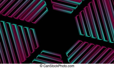 Blue and pink neon retro hexagon abstract technology motion background