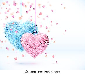 Blue and pink pair of hearts Valentines day background -...