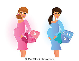 Pink and blue mom awaiting baby boy and girl. Vector Illustration.