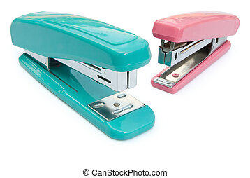 blue and pink staplers with clipping path