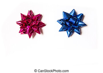 blue and purple bows on a white background