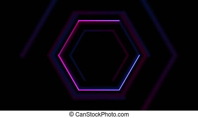Blue and purple glowing neon hexagonal motion background
