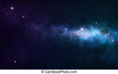 blue and purple nebula on black space background