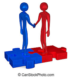 Blue and red 3d people on puzzles shaking hands