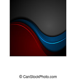 Blue and red abstract glowing waves on black background