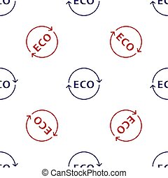 Blue and red Banner, label, tag, logo for eco green healthy food icon isolated seamless pattern on white background. Organic product. Healthy food sticker.  Vector