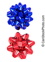 blue and red bow