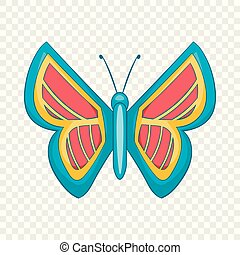 Blue and red butterfly icon, cartoon style