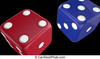 Blue and red casino dice alpha channel - Blue and red game...