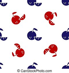 Blue and red Citrus fruit icon isolated seamless pattern on white background. Orange in a cut. Healthy lifestyle. Vector