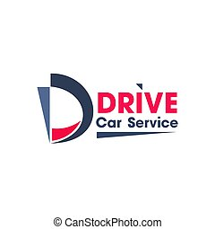Blue and red colors logo for car service business.