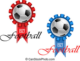 Blue and red crests of football
