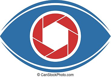 blue and red eye cam symbol
