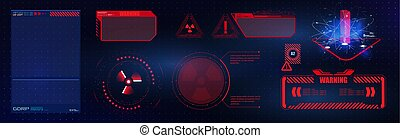 Blue and red futuristic frame in modern HUD style background. Abstract technology communication design innovation concept background. Vector abstract graphic design. Warning frame.