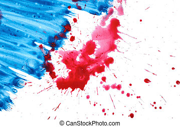 Blue and red gouache paint brush watercolor textures on white background