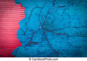 blue and red grunge cracked background