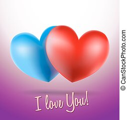 blue and red heart symbols on violet background and i love you words. vector