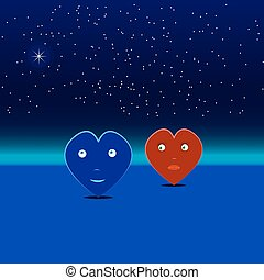blue and red hearts on a date
