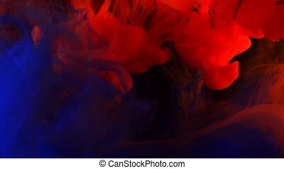 Blue and red ink in water shooting with high speed camera....