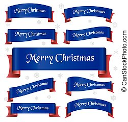 blue and red merry christmas curved ribbon banners eps10