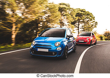 Blue and red mini cars on the forest road