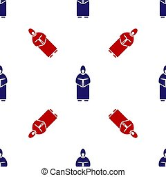 Blue and red Monk icon isolated seamless pattern on white background. Vector Illustration