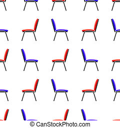 Blue and Red Office Chairs Seamless Pattern