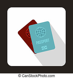 Blue and red passport icon, flat style