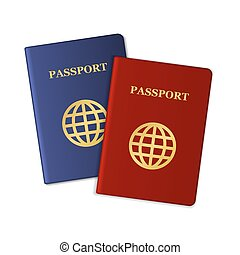 Blue and Red Passports Isolated on White Background. Vector