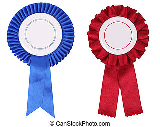 Blue and red rosettes, with copy space put your own text ...