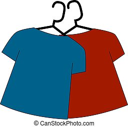 Blue and red shirts, illustration, vector on white background