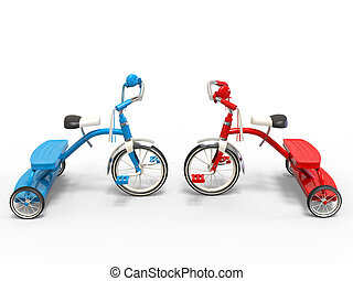 Blue and red tricycles