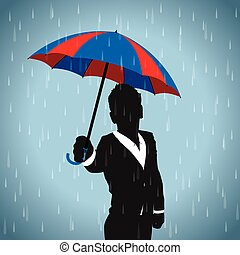 blue and red umbrella man