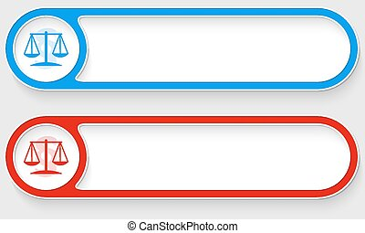 Blue and red vector abstract buttons and law icon