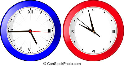 blue and red wall clock