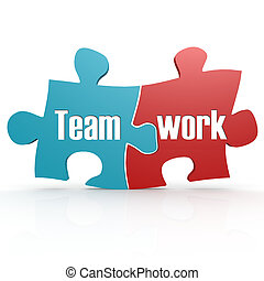Blue and red with teamwork  puzzle, 3D rendering
